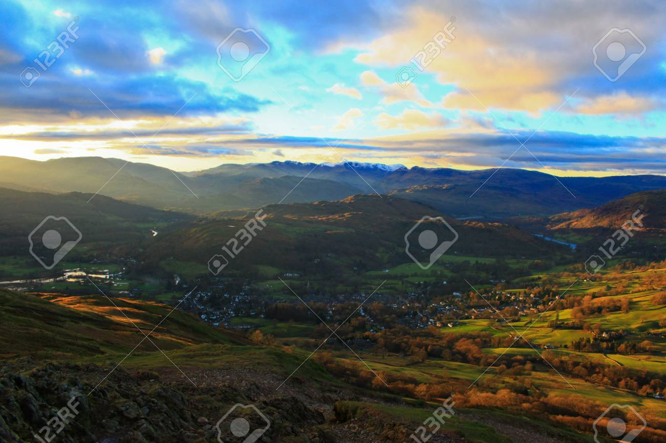 Fells of the Lake District with an aerial view of Ambleside Stock Photo - 18445955