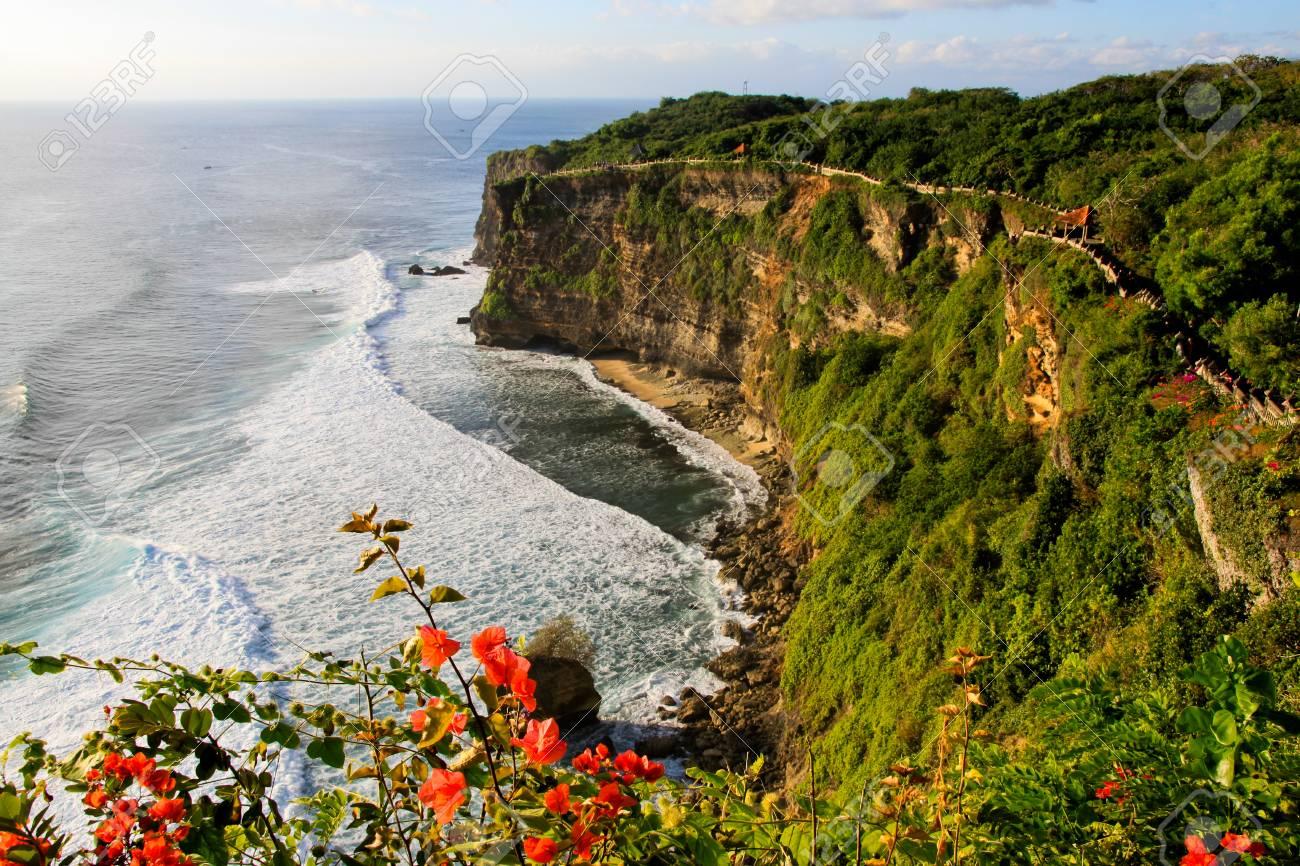 Scenic landscape of fantastic sunset at Uluwatu Bali  Travel