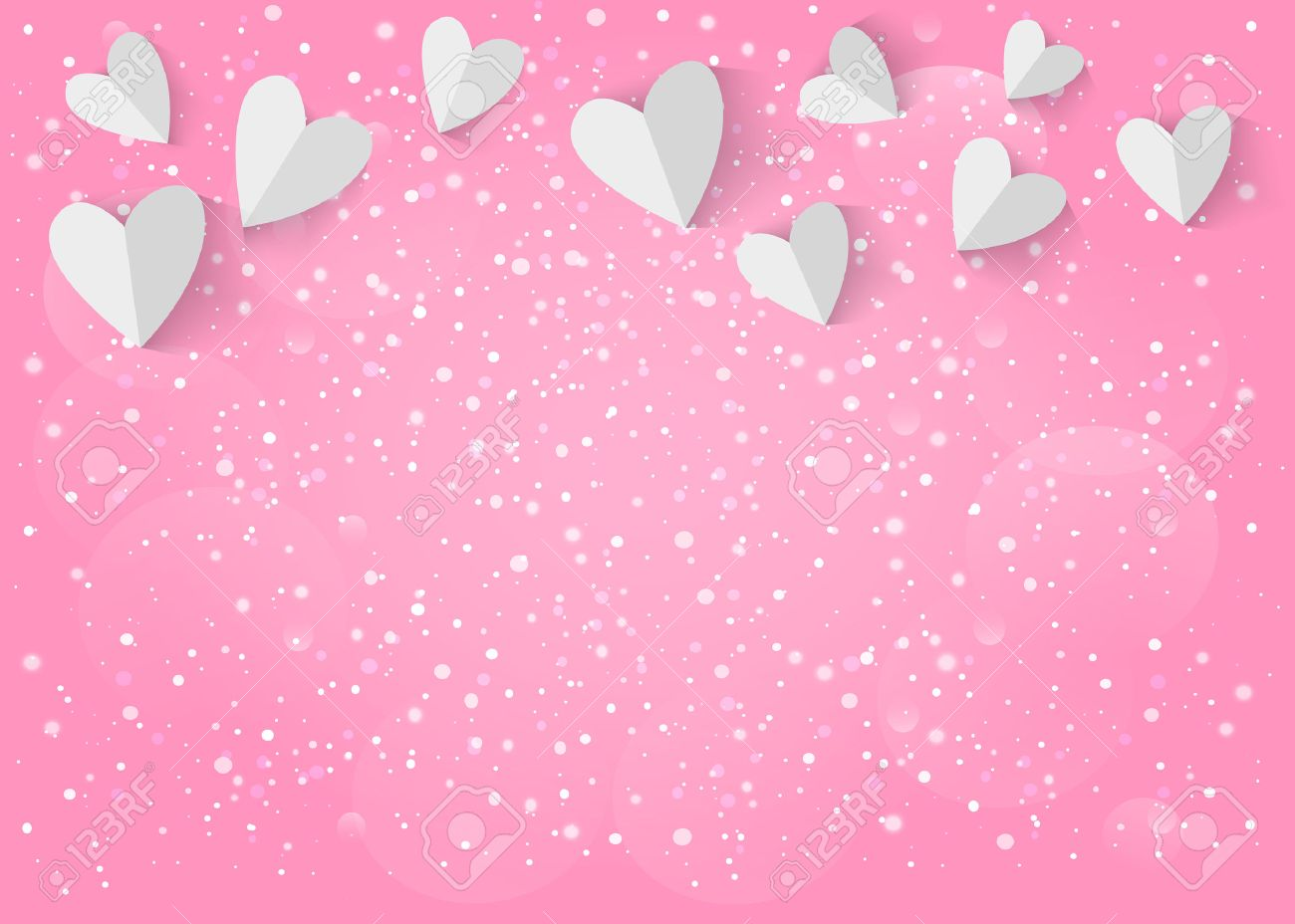 Vector - White paper 3d heart on pink background.