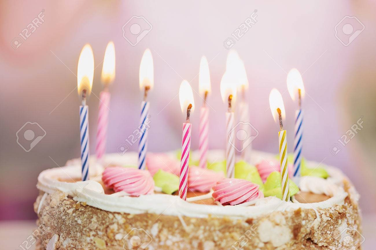 Close Up Birthday Cake With Candles For Little Princess Girl Soft Focus Stock Photo