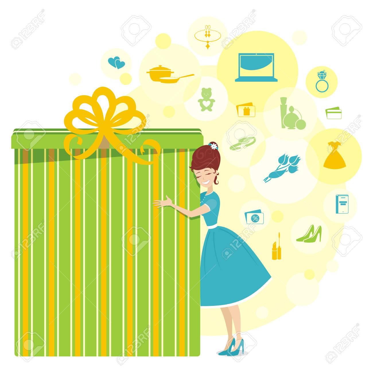 Großes Geschenk Für Eine Frau In Den Gelben Farben Lizenzfrei ...