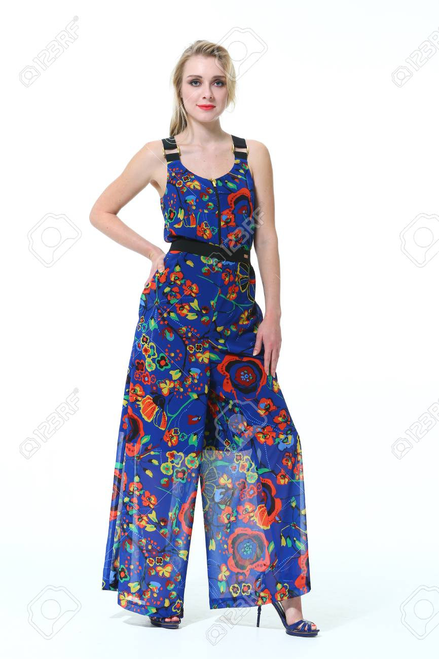e7e29b5f84d8d7 blond slavic business executive woman with straight hair style in summer  print sleeveless overall high heel