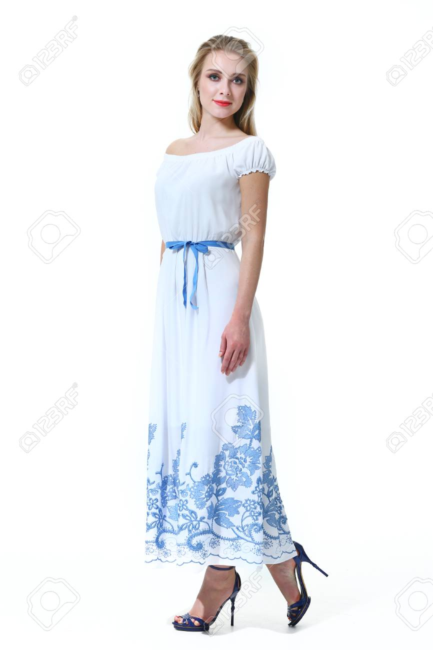 b6b31f42edfecc blond woman with straight hair style in summer sleeveless dress high heel  shoes going full body