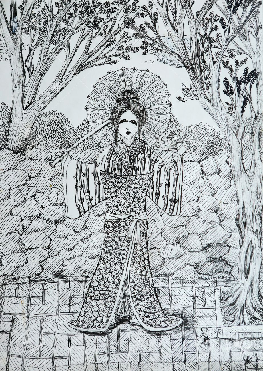 Geisha With Fan In The Japanese Garden Drawing Thin Black Liner Lines Stock Photo