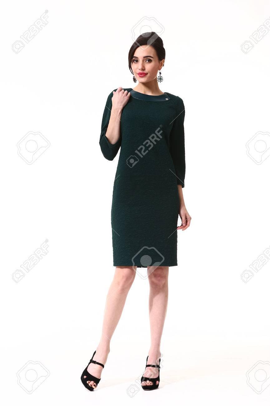Frau Mit Updo Frisur In Blau Formale Partei Cocktailkleid High Heels ...