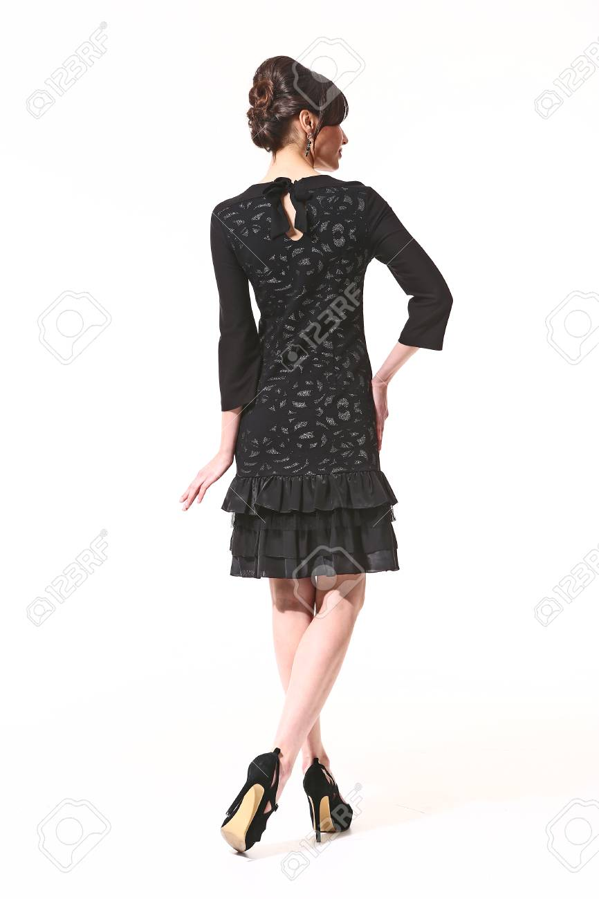 Asian Woman With Up Do Hair Style In Black Formal Party Cocktail ...