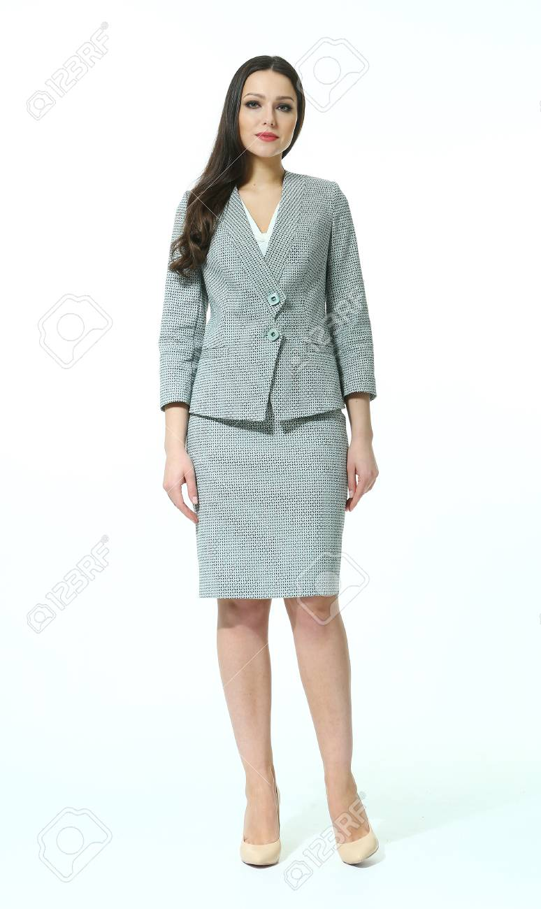 Woman With Straight Hair Style In Office Skirt Suit Power Dress