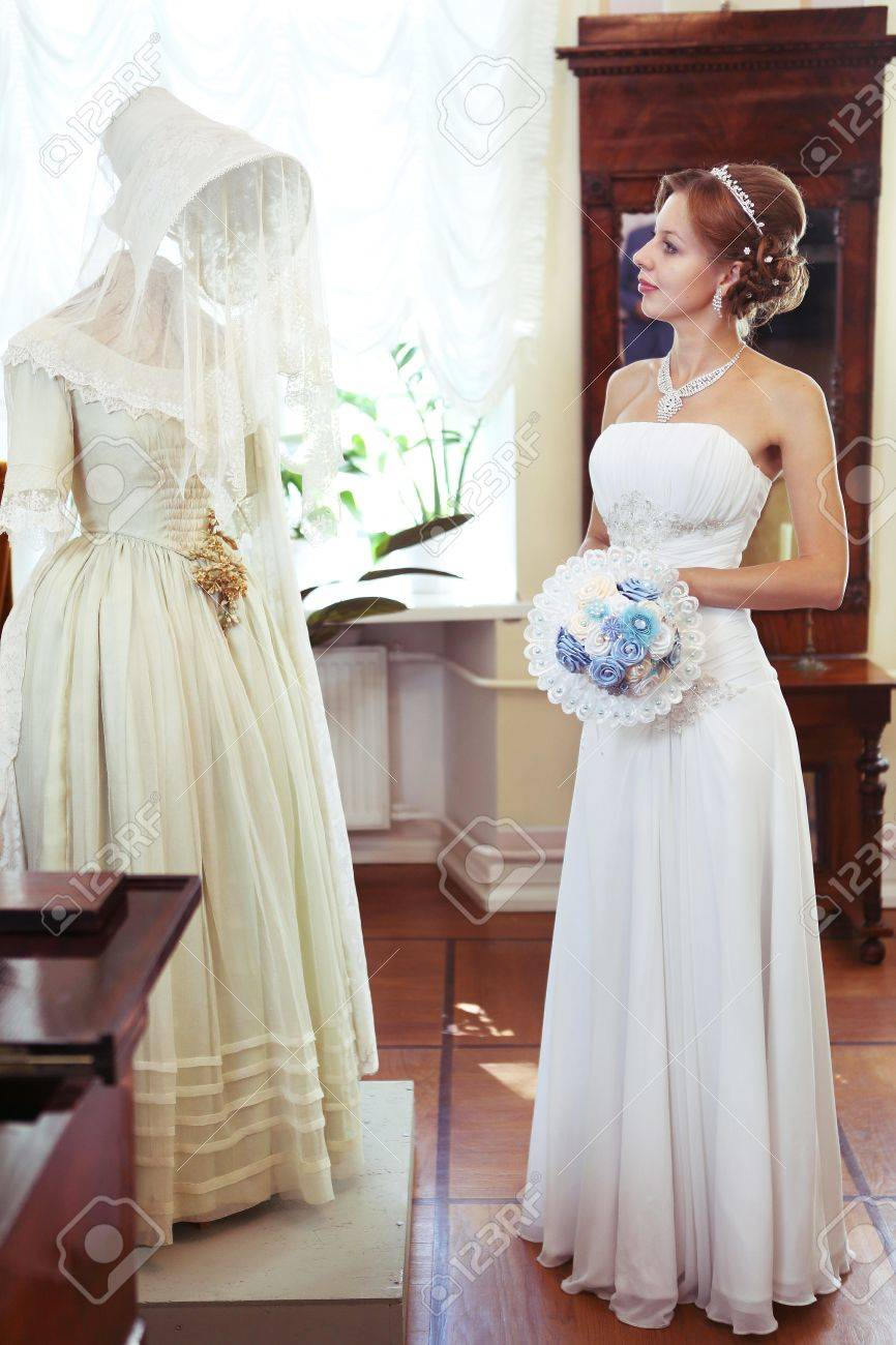 Russian Wedding Dresses | Moscow August 17 2014 Russian Bride In Noble House Museum Stock