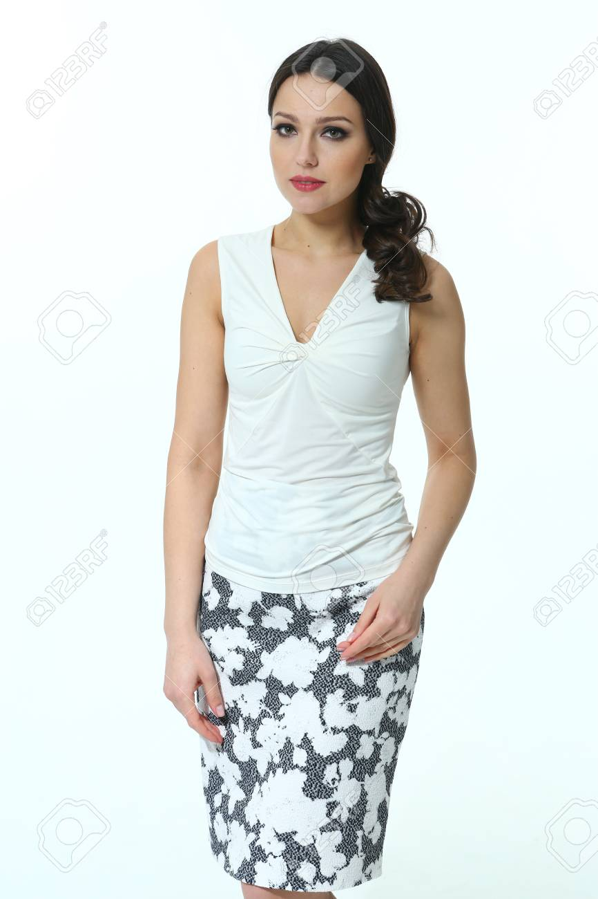 8baadc70059 fashion model in summer white tshirt and floral print skirt close up photo  isolated on white