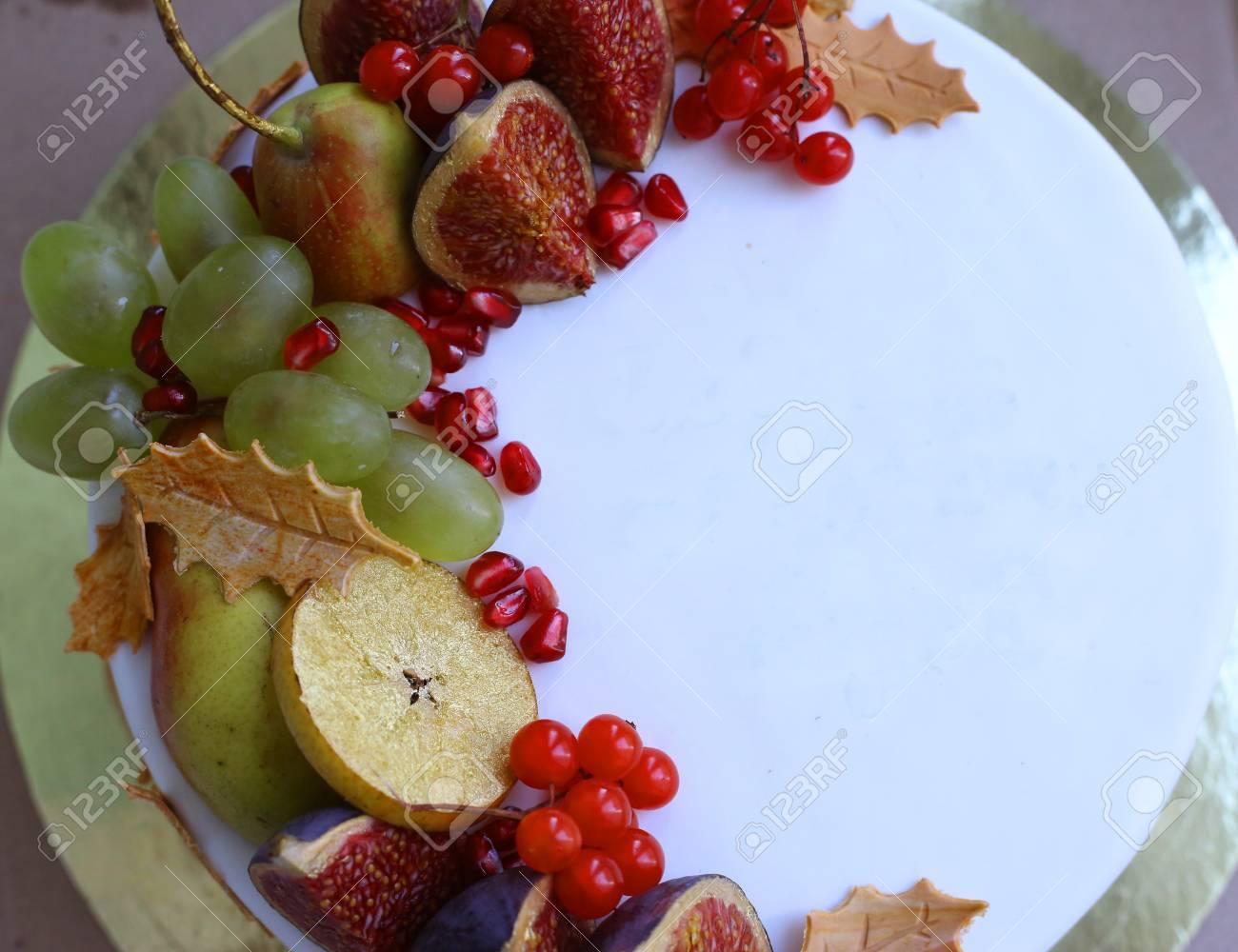 Autumn Fruit Frame Apple Pearfig Pomegranate Viburnum Cut