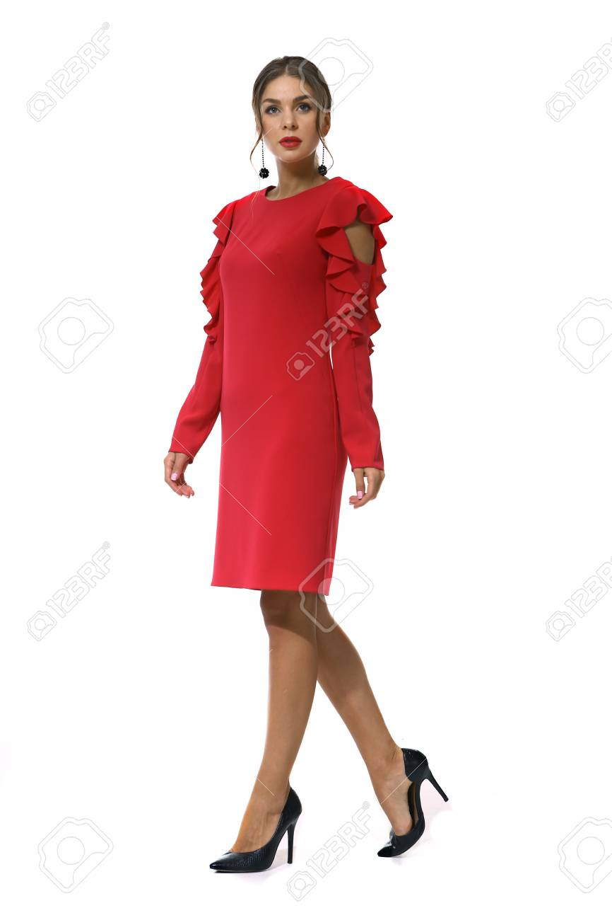 Clerk Manager Business Woman In Formal Red Dress Stiletto Heels