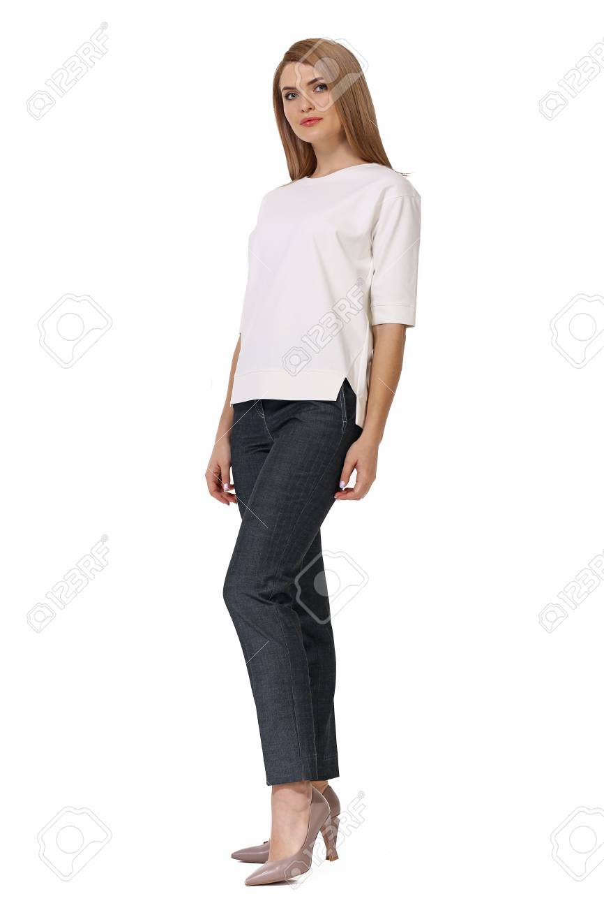 professional sale reputable site wholesale price Blond Business Woman Executive Posing In Short Sleeve White Blouse ...