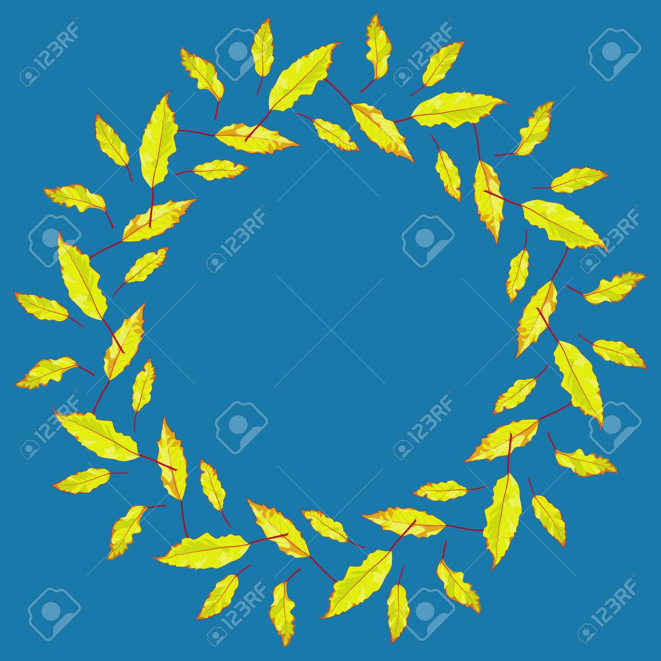 Vector leaves frame in yellow orange and blue colorful design vector leaves frame in yellow orange and blue colorful design for postcards invitation stopboris Images