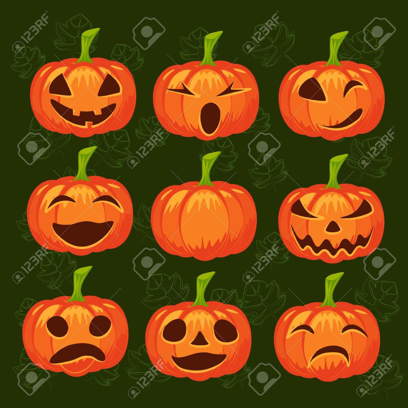Conjunto De Vectores De Calabazas Diseño De Halloween La Emoción La Risa Enojado Sonriente Triste Asustadizo Mal Sonrisa Guiño Linterna Para El Sitio Web Folleto Tarjeta Invitstion Ilustraciones Vectoriales Clip Art Vectorizado