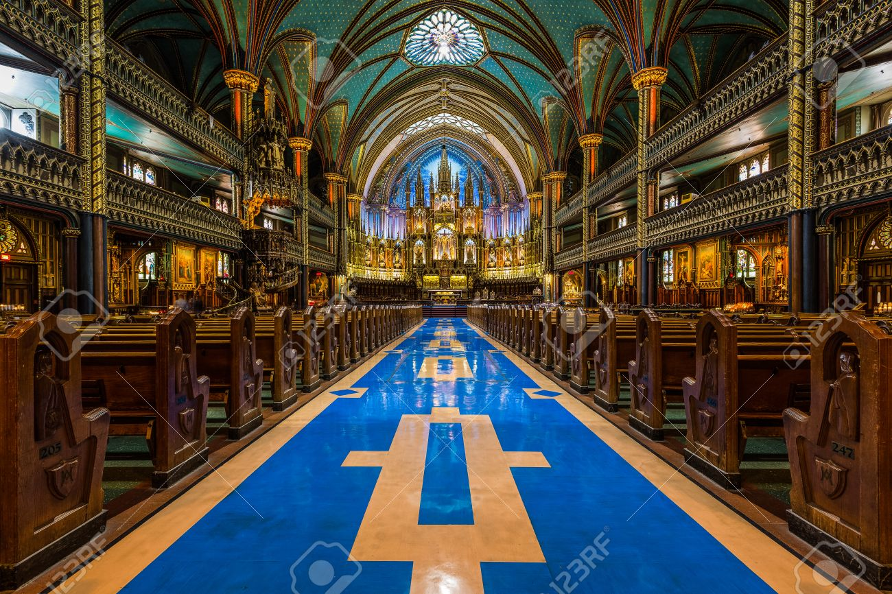 Interior Of Notre Dame Cathedral And Its Altar In Montreal Canada The Church S