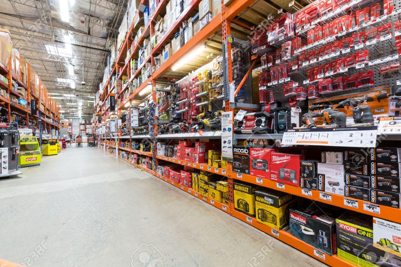 Power Tools Aisle In A Home Depot Hardware Store The Home Depot Is The  Largest American