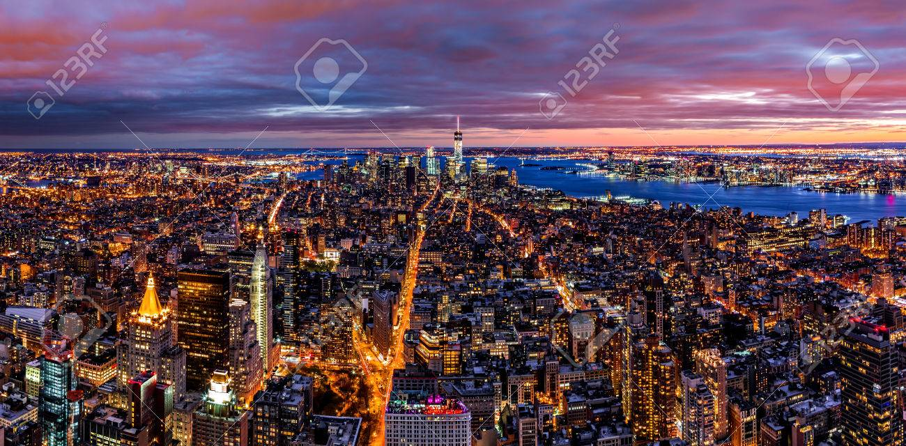 Aerial New York City Panorama At Night Stock Photo Picture And