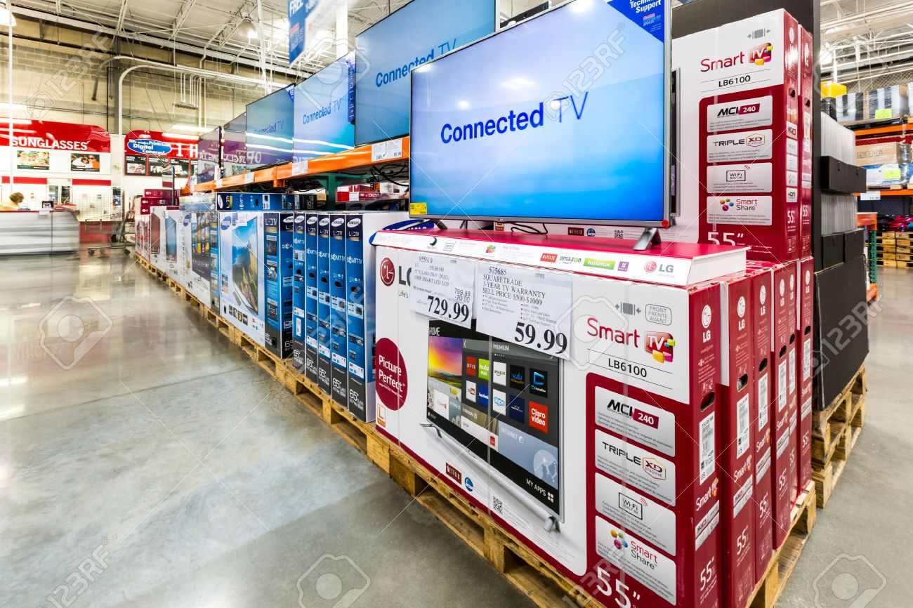 V aisle in a costco store costco wholesale corporation a stock photo v aisle in a costco store costco wholesale corporation a membership only warehouse club is the second largest retailer in usa thecheapjerseys Gallery
