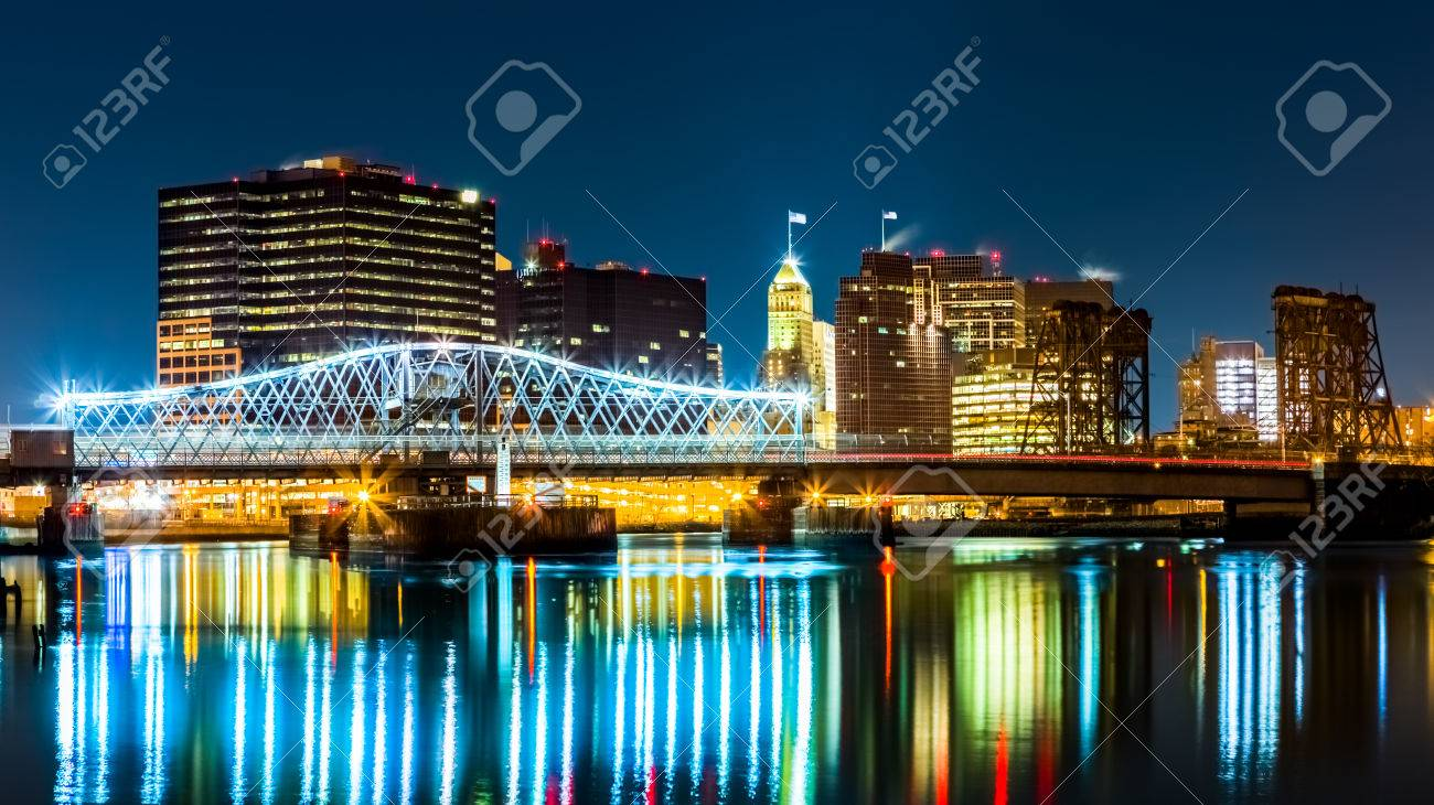 Newark, NJ cityscape by night, viewed from Riverbank park  Jackson