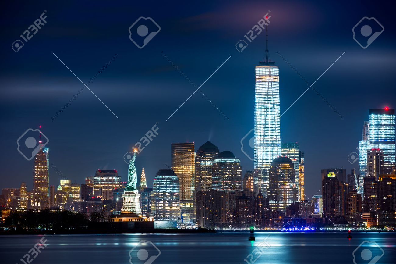 New York City and its three iconic landmarks: Statue of Liberty Freedom Tower and Empire State Building - 39566669