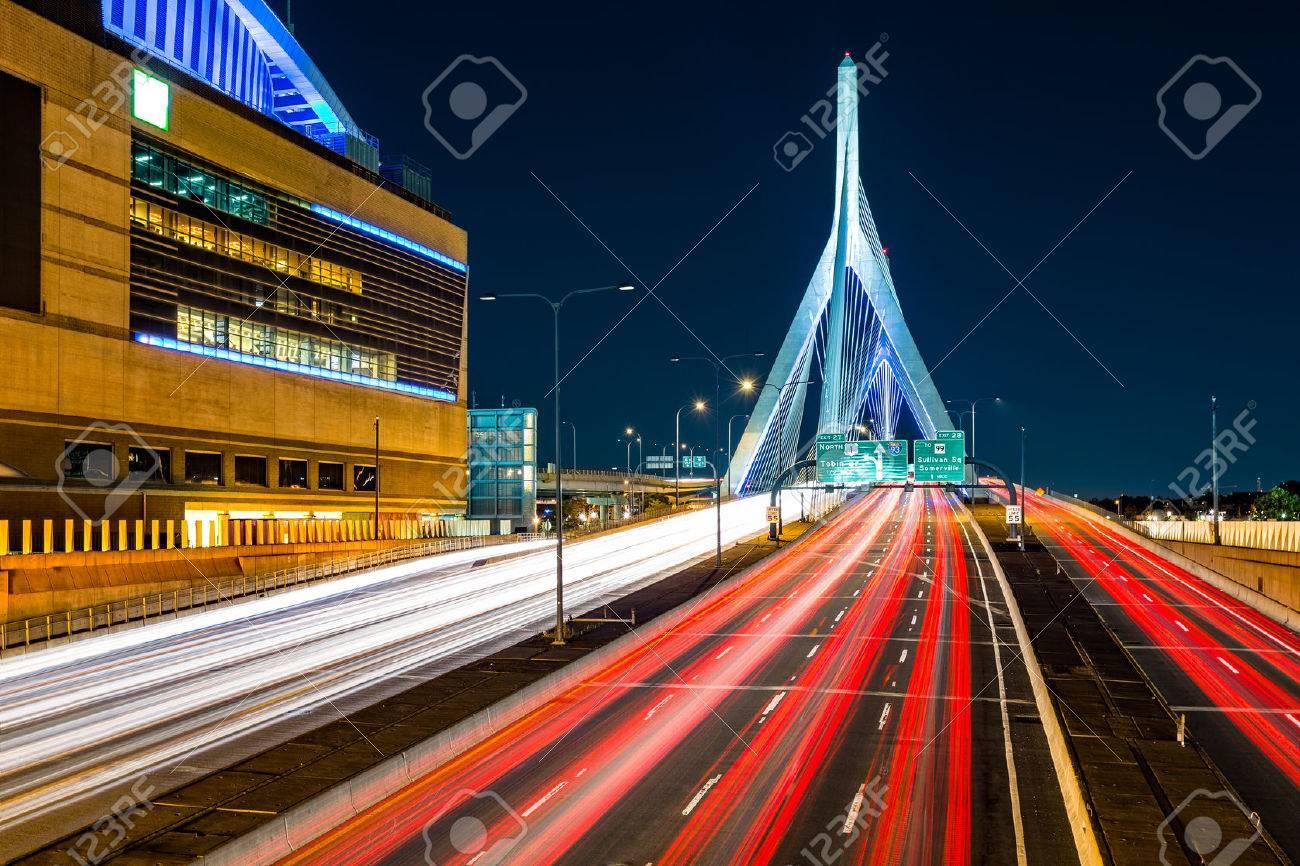 Rush hour traffic on Zakim Bunker Hill bridge in Boston, MA - 43724920