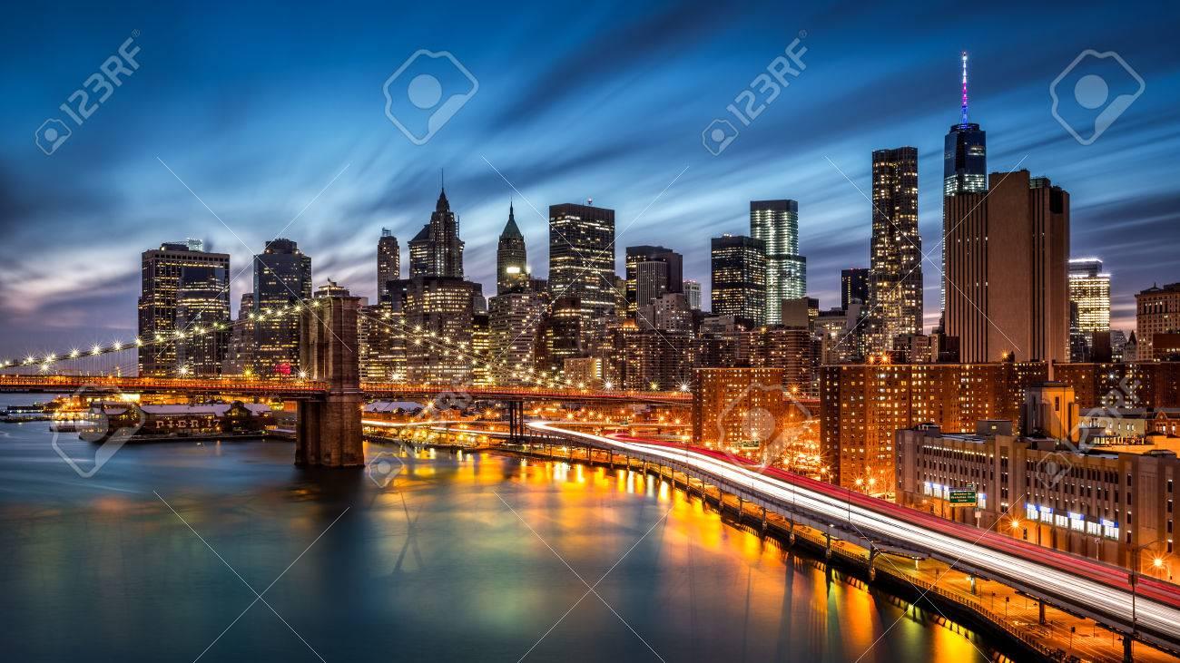 Brooklyn Bridge and the Lower Manhattan at dusk - 45150546