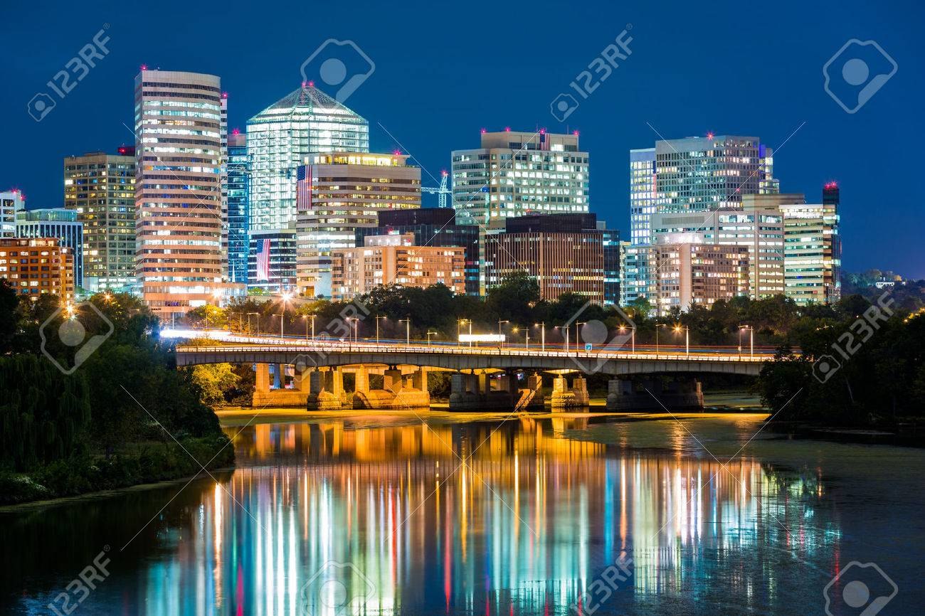 Rosslyn district skyline connected to Washington DC through Theodore Roosevelt memorial bridge. - 45202174