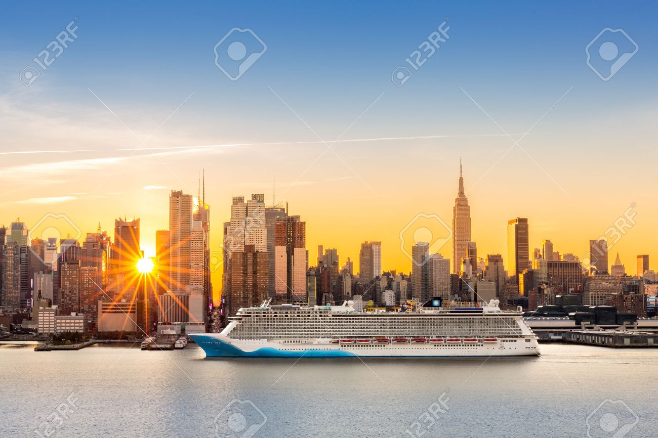 New York City Skyline At Sunrise, As Viewed From Weehawken, Along ...