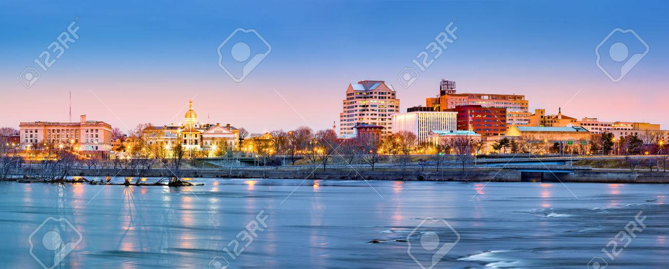 Trenton skyline panorama at dawn. Trenton is the capital of the US state of New Jersey. - 55267698