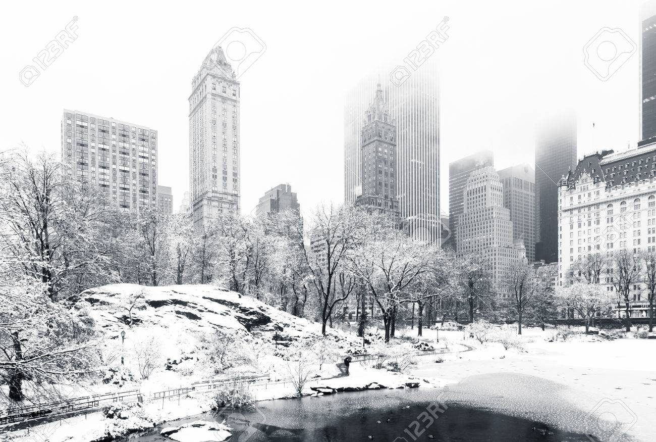 The Pond in Central Park on a foggy winter morning, as viewed from Gapstow Bridge. Low clouds cover Manhattan skyscrapers - 59199082