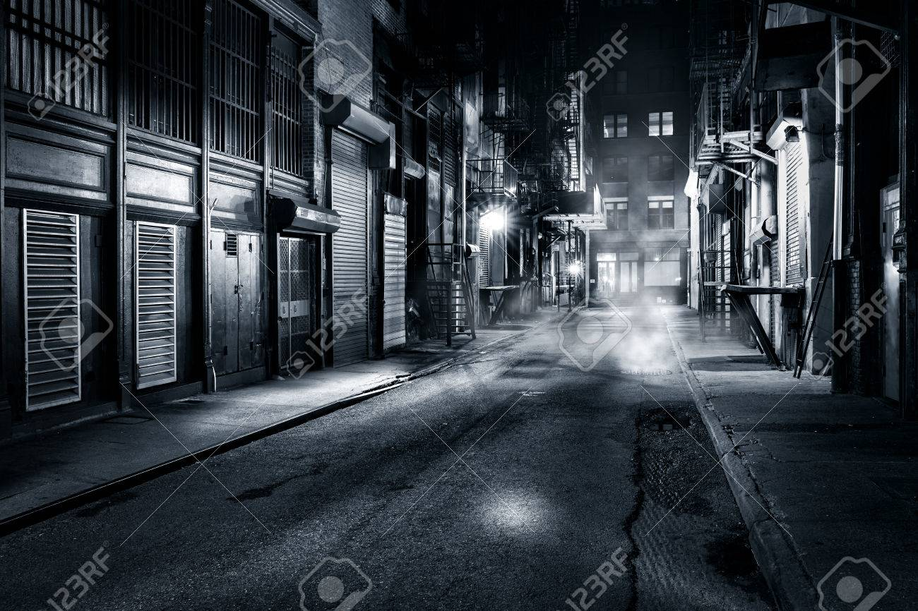 Moody monochrome view of Cortlandt Alley by night, in Chinatown, New York City - 59199113