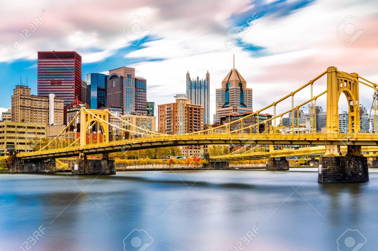 Rachel Carson Bridge (aka Ninth Street Bridge) spans Allegheny river in Pittsburgh, Pennsylvania - 87558712