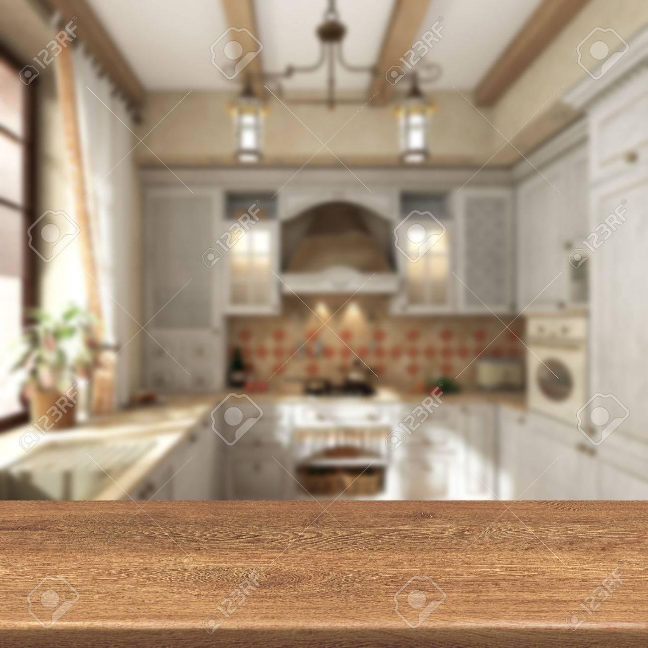 Retro de la cocina, mesa de madera sobre fondo borroso para la exhibición  de productos de montaje