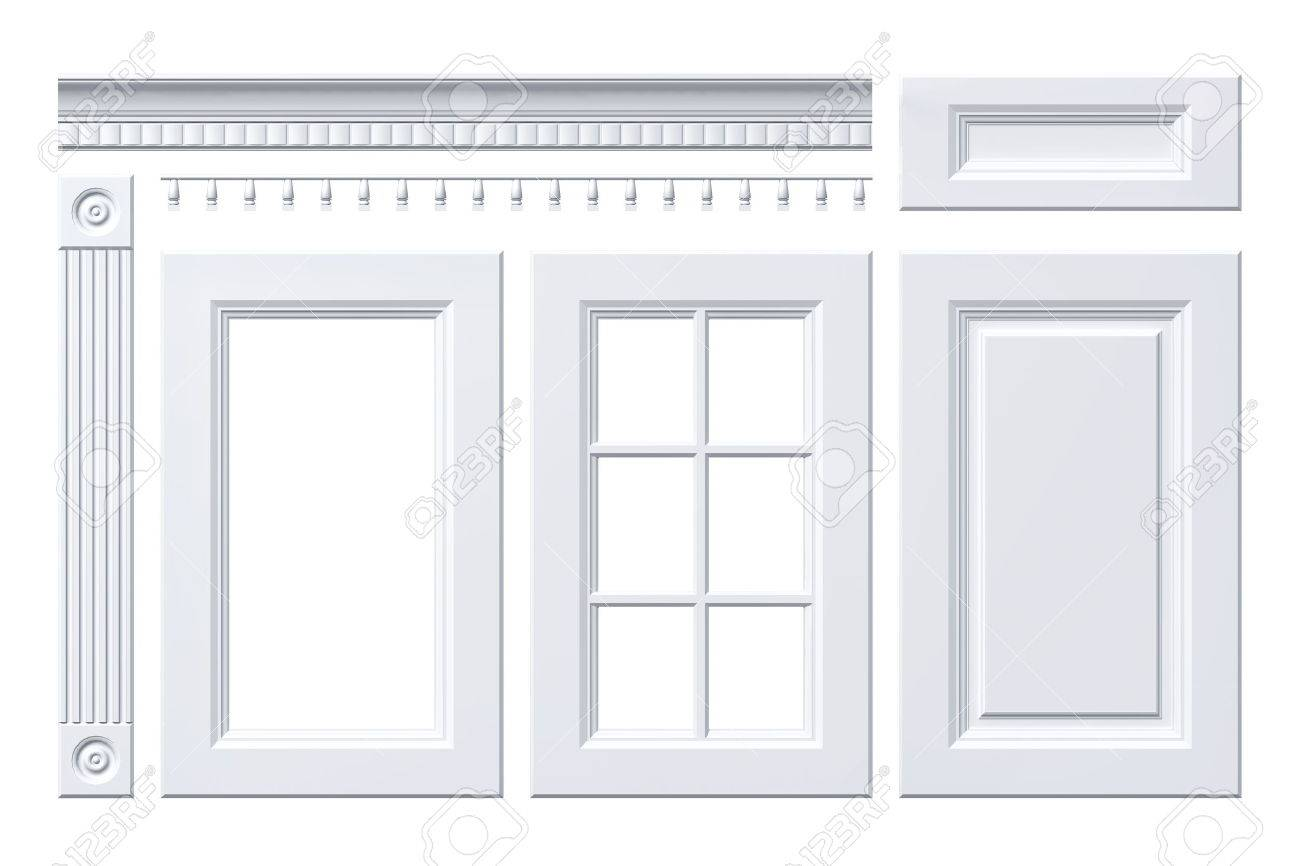 Front door, drawer, column, cornice for kitchen cabinet isolated on white - 57129148