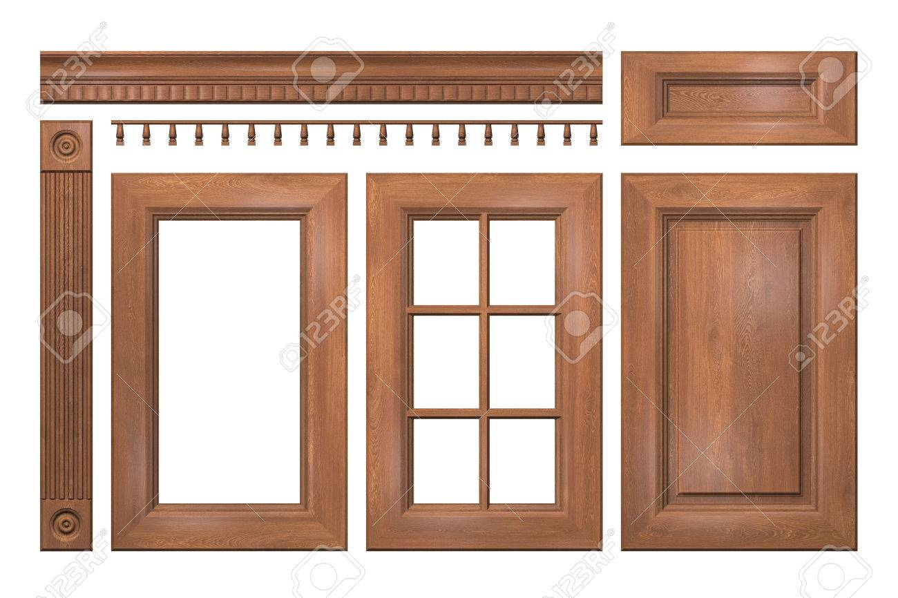Front Collection Of Isolated Wooden Doors Drawer Column Cornice