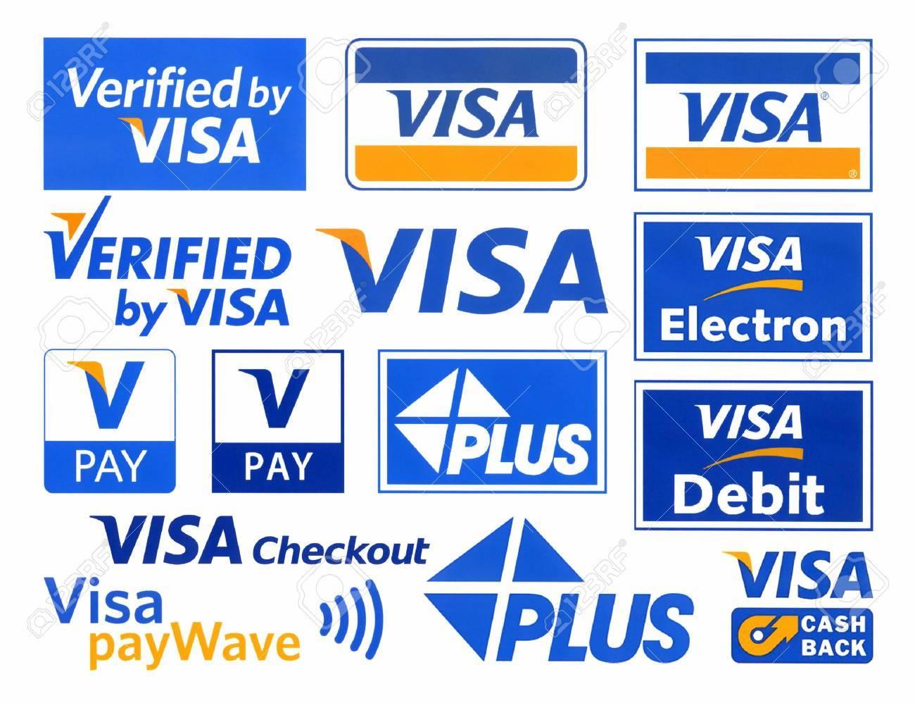 Verschiedene Logos Des Zahlungssystems VISA, Gedruckt Auf Weißem