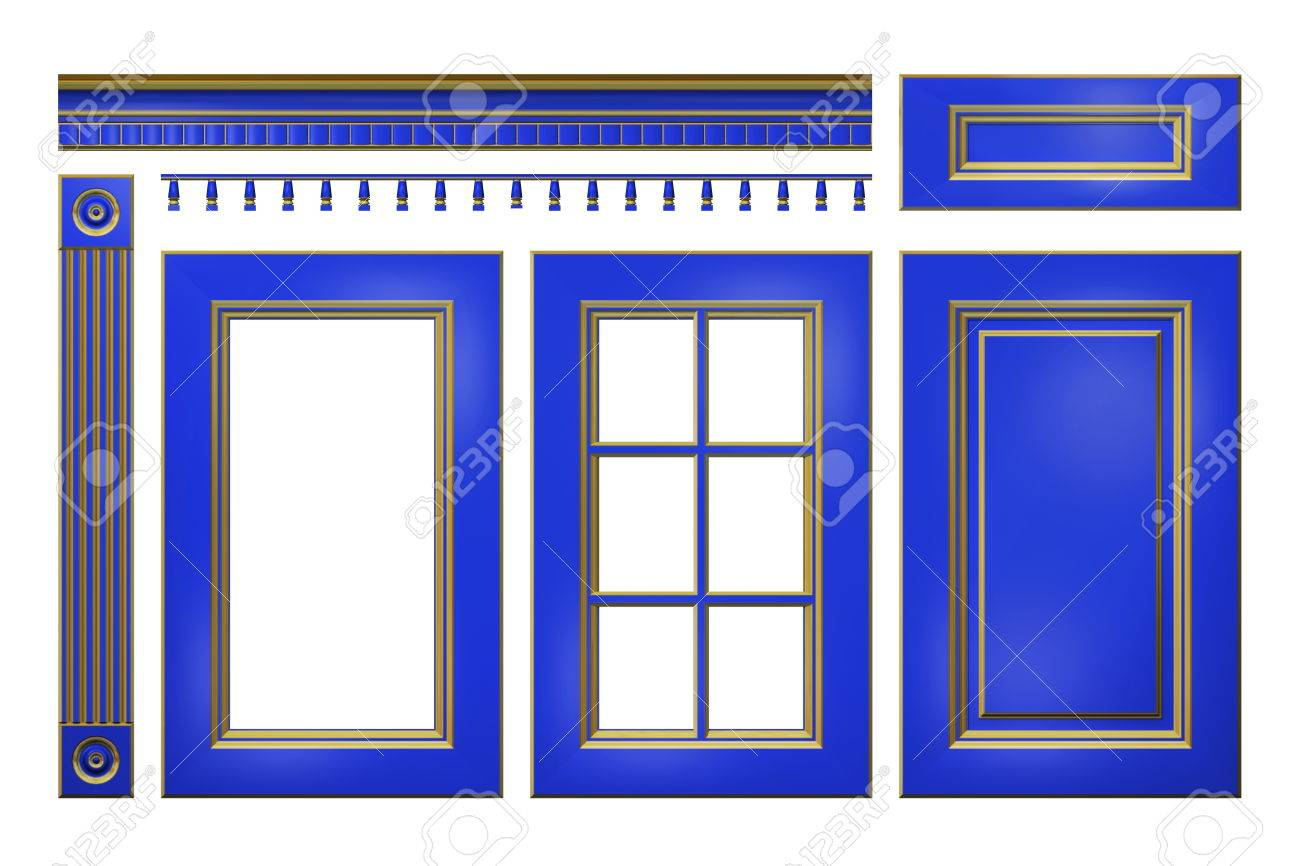 Blue With Gold Door Drawer Column Cornice For Kitchen Cabinet