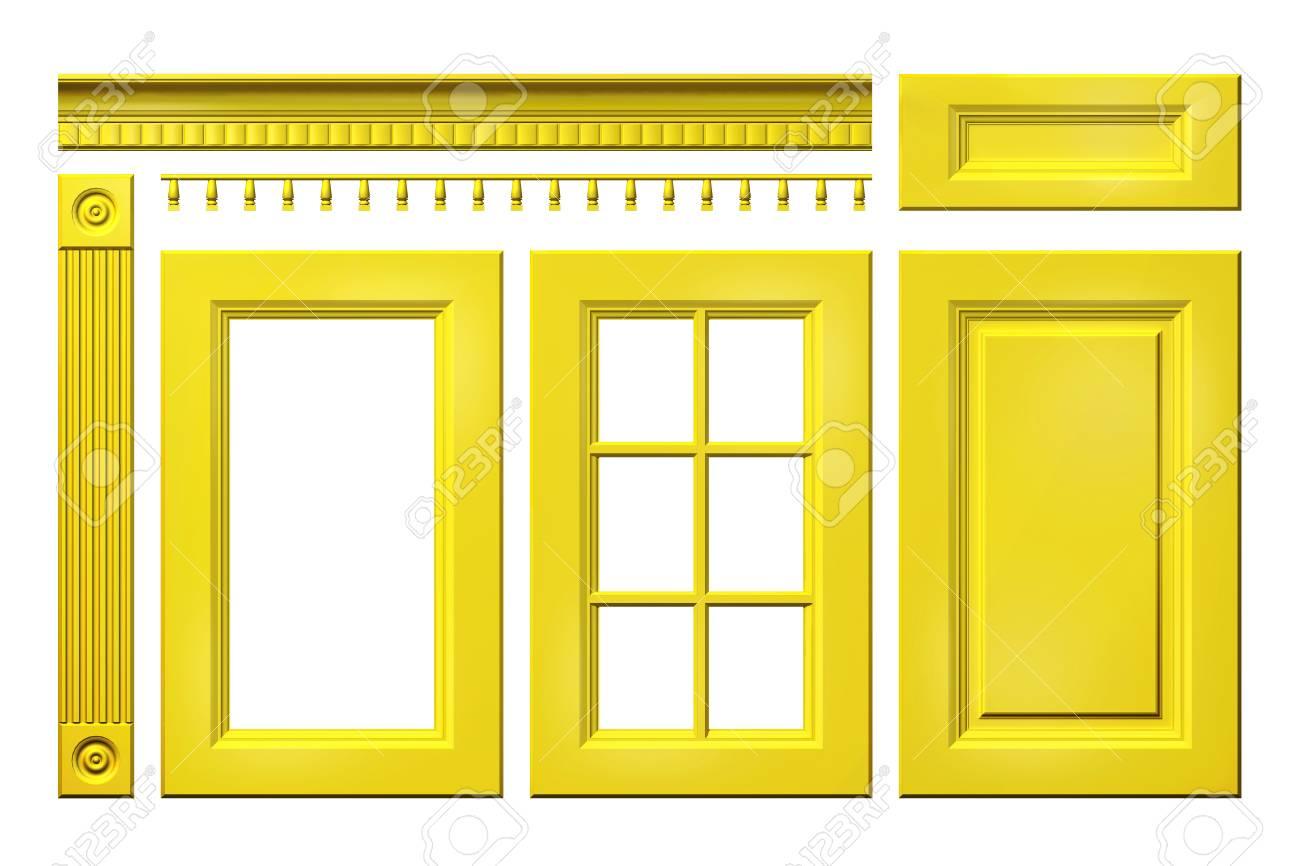 Colección Frontal De Puerta Amarilla, Cajón, Columna, Cornisa Para ...