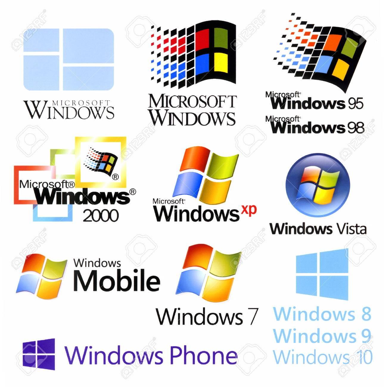 Evolution Of Microsoft Windows Logotypes Printed On White Paper Stock Photo