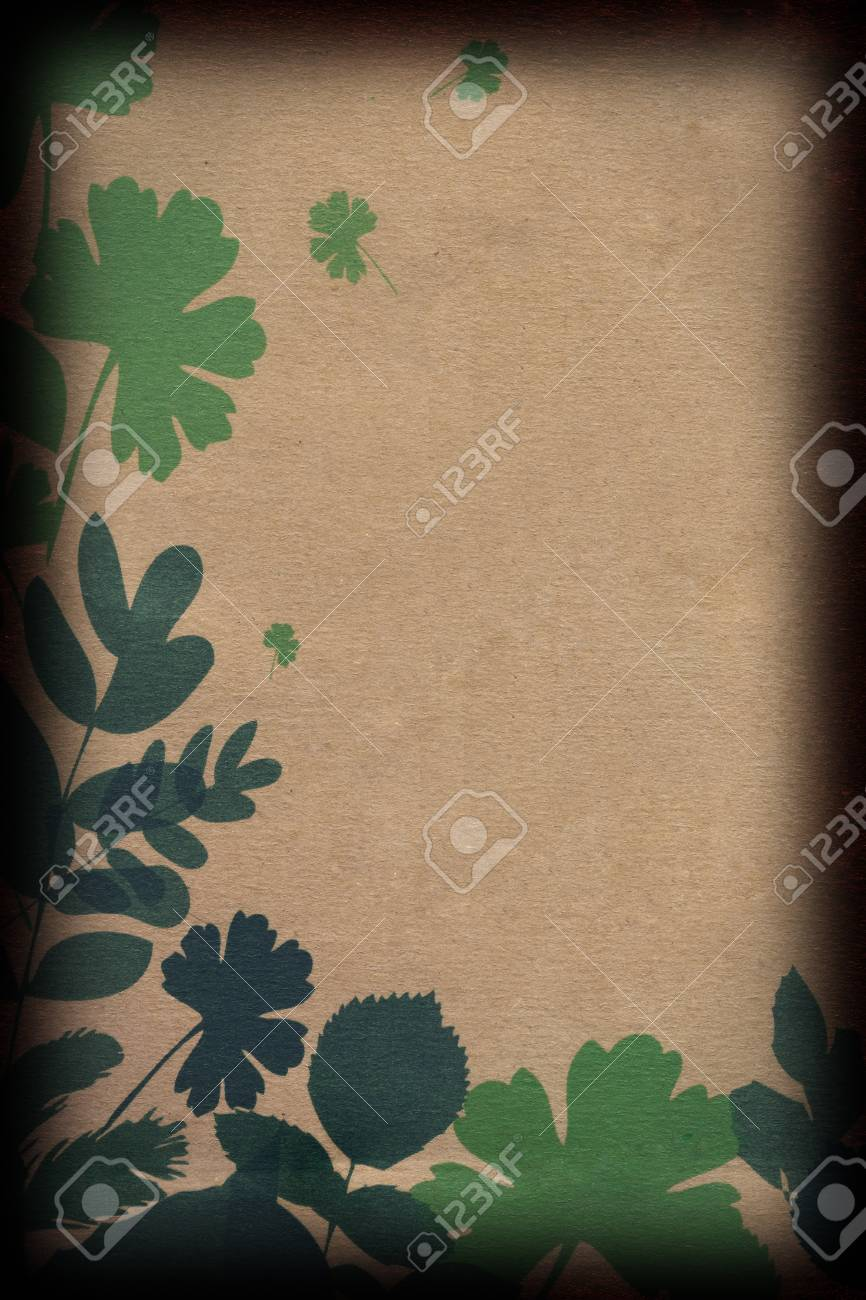 Leaves on Brown Paper Stock Photo - 10990529