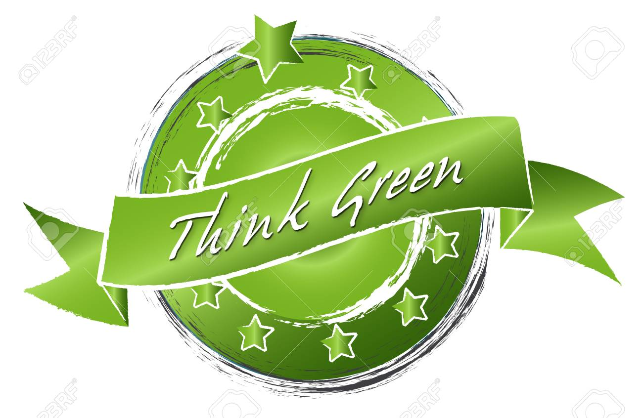 Illustration of a sustainable green thinking as sketched banner Stock Illustration - 12858525