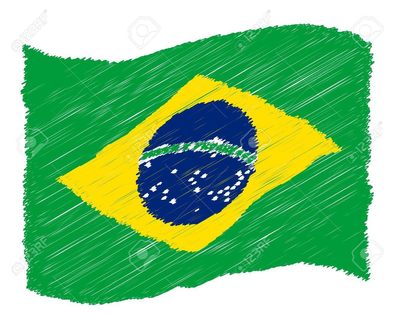 sketch - Brazil - The beloved country as a symbolic representation as heart - Das geliebte Land als symbolische Darstellung als Herz Stock Photo - 13631438