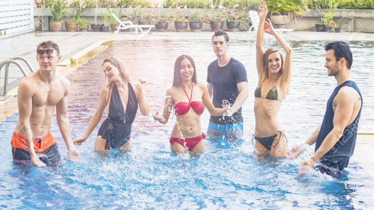 e8f22298493f4 friends having party and dancing in a swimming pool - Fashion of underwear  summer beach bikini