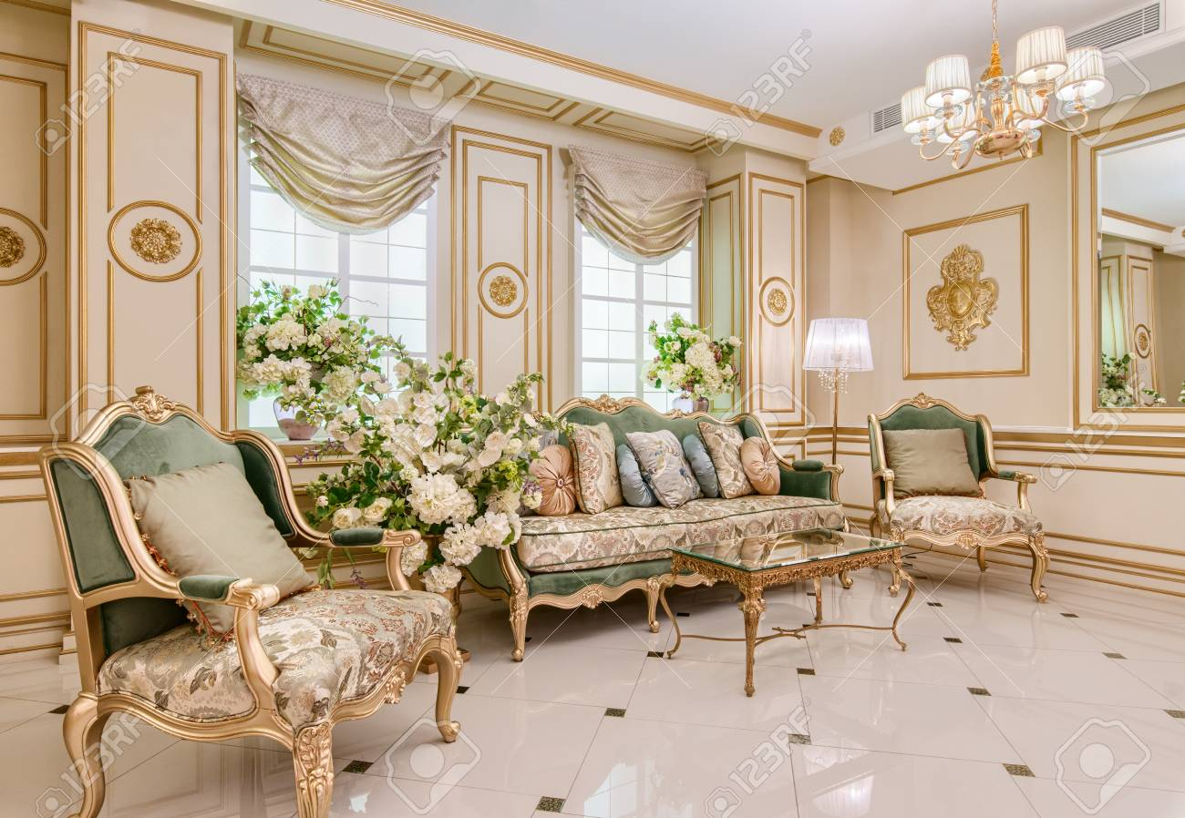 Luxury classic living room interior