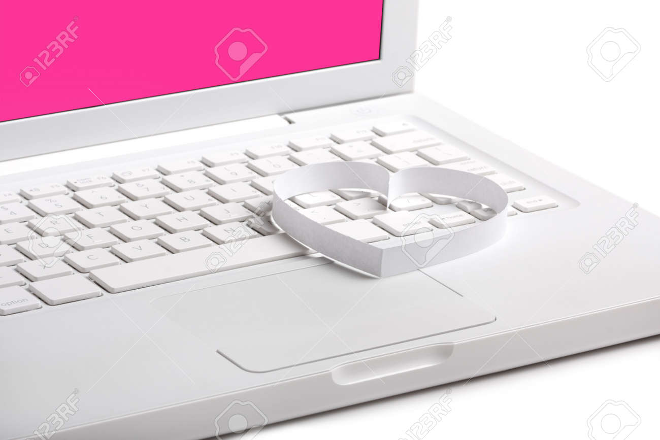 White Laptop With Heart Symbol Clear Background Stock Photo