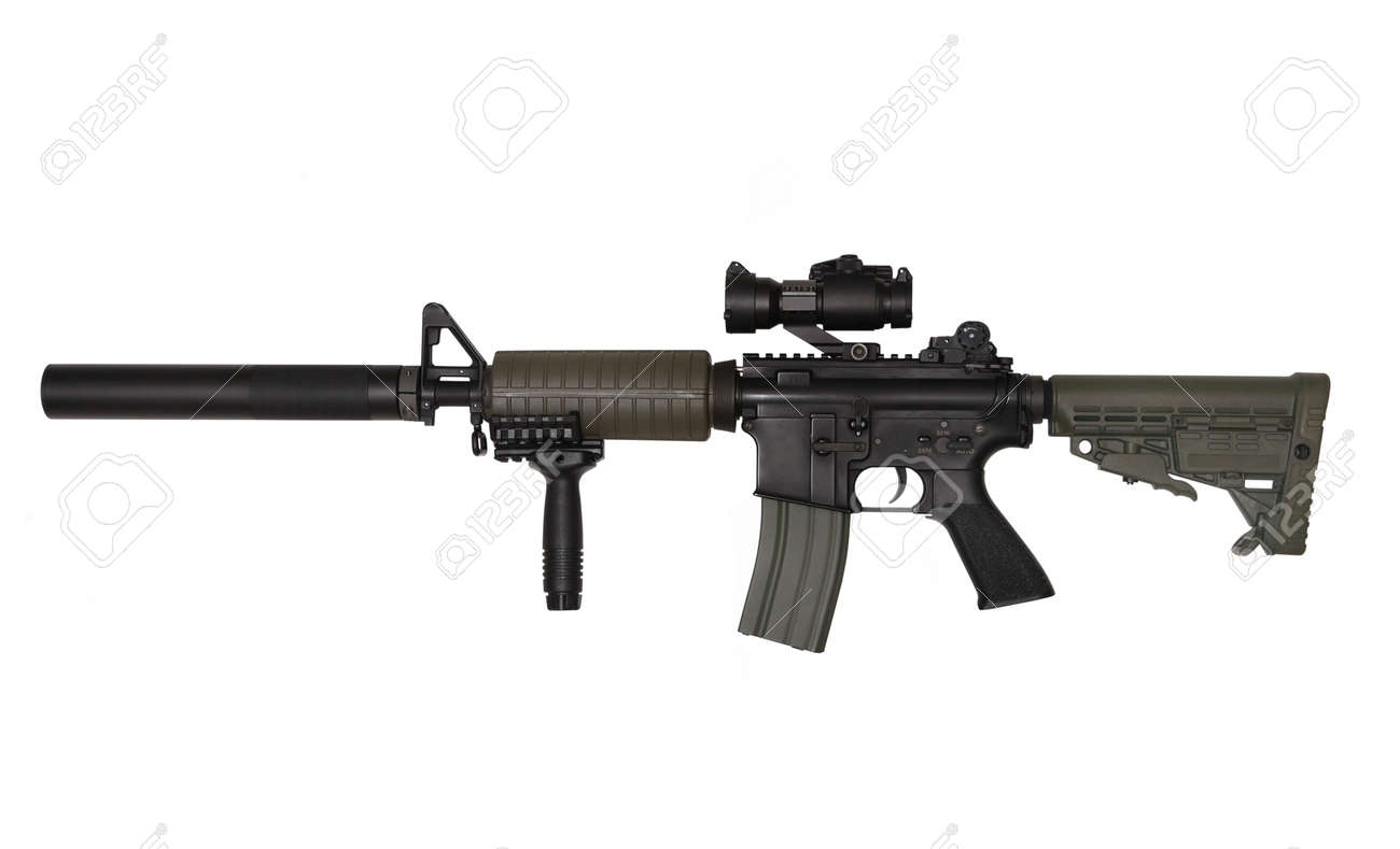 M4A1 custom rifle for paramilitary contractors. Isolated on white background. Studio shot. Stock Photo - 6979923