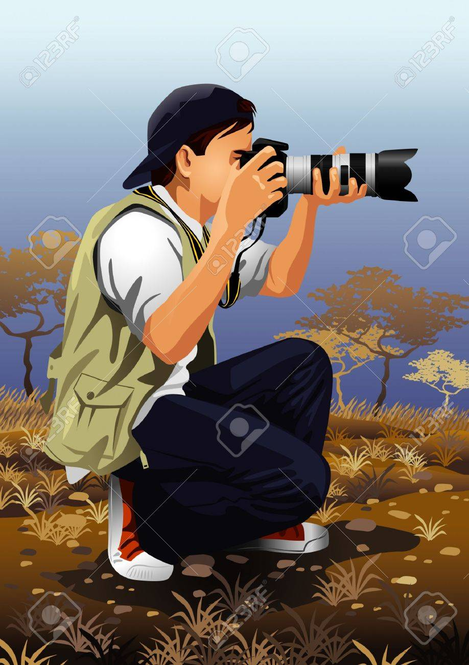 Profession set: photographer Stock Vector - 4236081