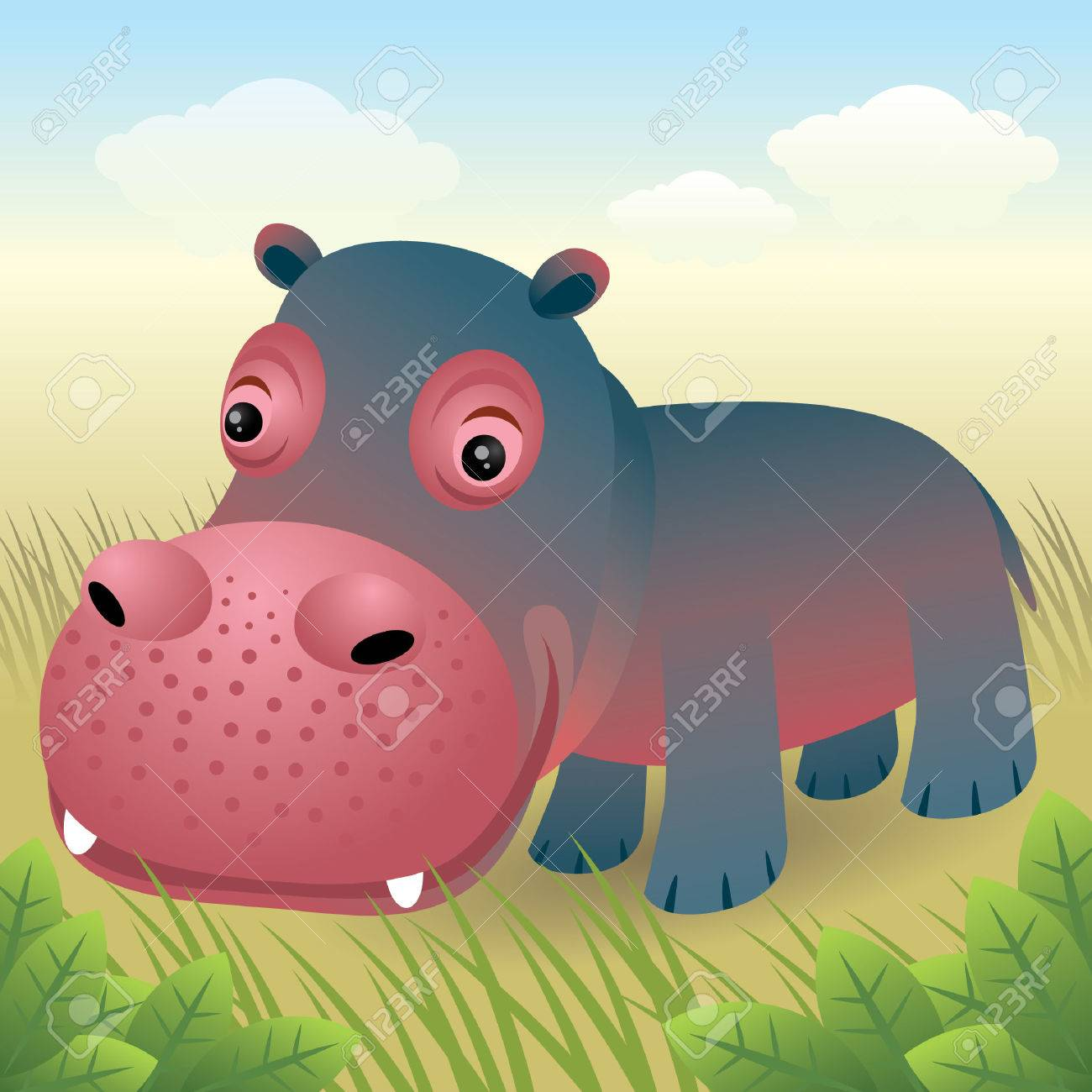 Baby Animal collection: Hippo Stock Vector - 4264049