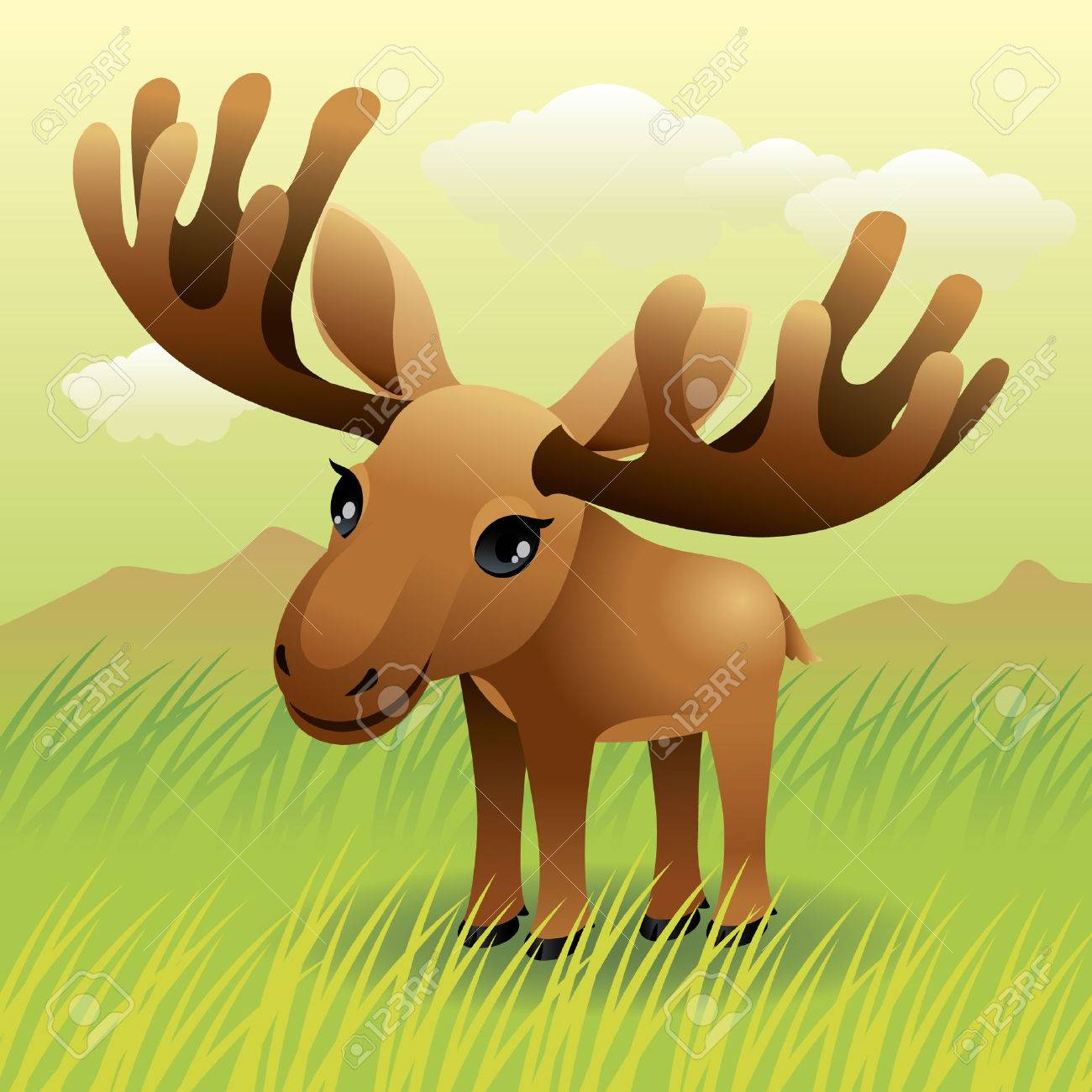 Baby Animal collection: Moose Stock Vector - 4264039