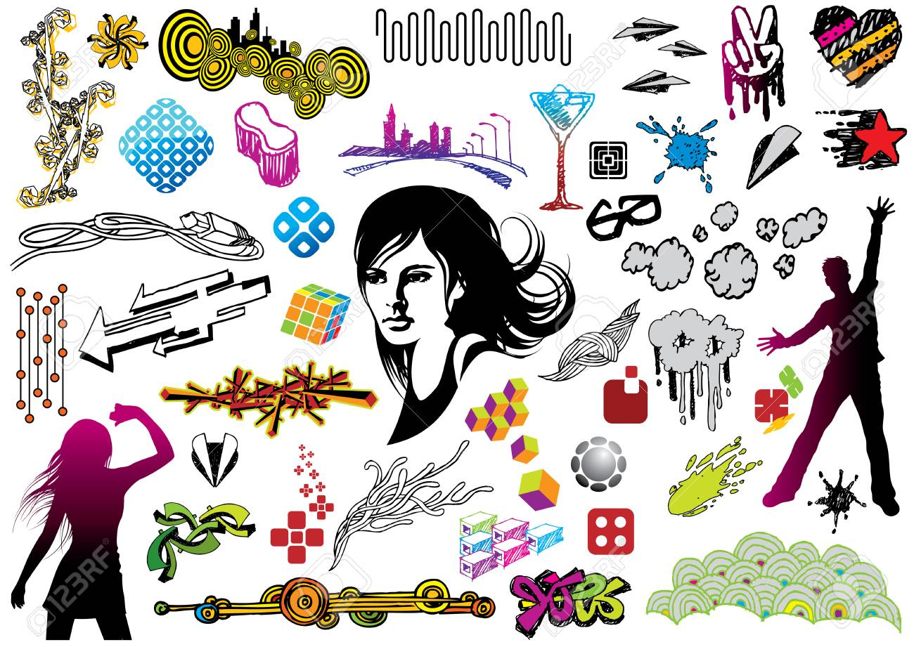 Multi pack of many design elements. You can use the elements to create your greeting cards, covers and flyers. Please visit my portfolio for more value packs. Stock Vector - 4908397